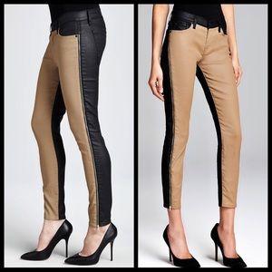 7FAM tan black faux leather zipper skinny jeans